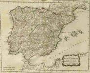CARTE DU ROYAUME D'ESPAGNE ET DE PORTUGAL