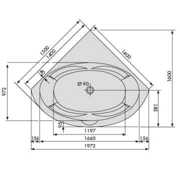 Eckbadewanne maße 140  Duscholux Malaga 440 Trend Eckbadewanne 140 x 140 cm - MEGABAD