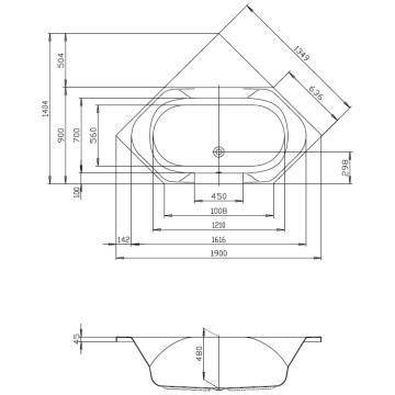 Sechseck badewanne maße  Hoesch Spectra Sechseck-Badewanne 190 x 90 cm 3652 - MEGABAD