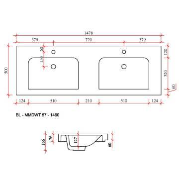 Doppelwaschtisch maße  Pelipal Balto Mineralmarmor Doppelwaschtisch BL-MMDWT57-1460-w - MEGABAD
