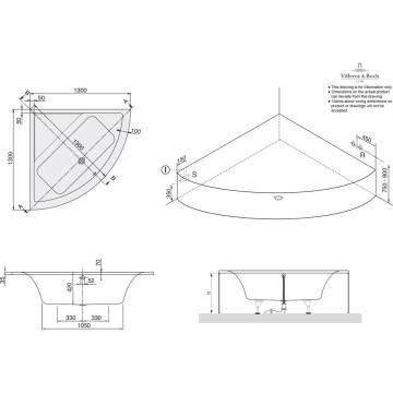 Eckbadewanne maße 130  Villeroy & Boch Subway Eckbadewanne 130 x 130 cm UBA130SUB3V-01 ...