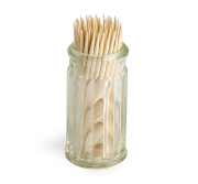 Glassbeholder for tannpirkere