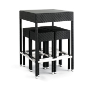 Bar sett med, Sort, med 4 stoler og bord med glass topp