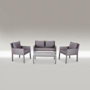 Sofagruppe med 2 stoler, sofa og bord