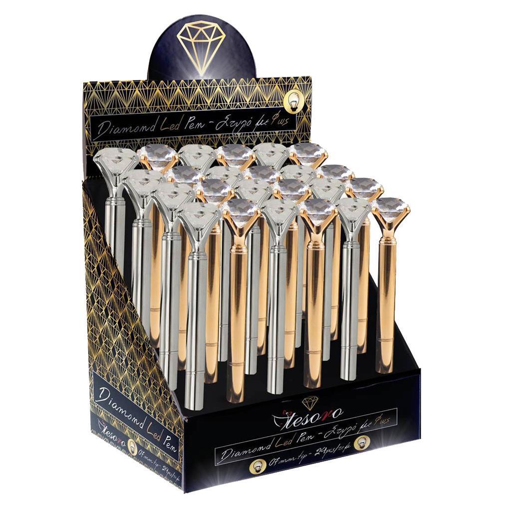 Diamond Στυλό με Led Tesoro Aσημί / Χρυσό (582182)