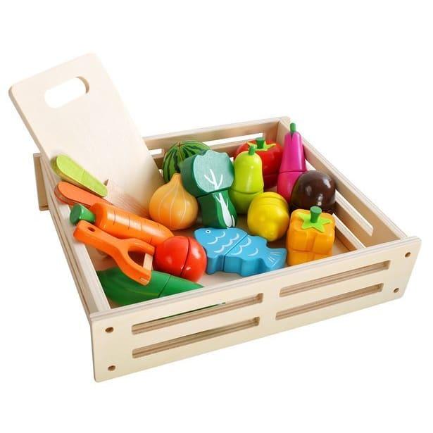 Ξύλινα μαγνητικά XXL φρούτα και λαχανικά σε τελάρο 34 τεμ. Iso Trade (9430)