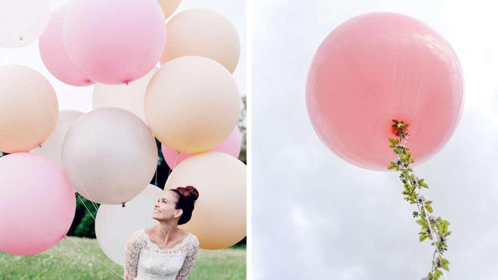 Ballons rose et blanc