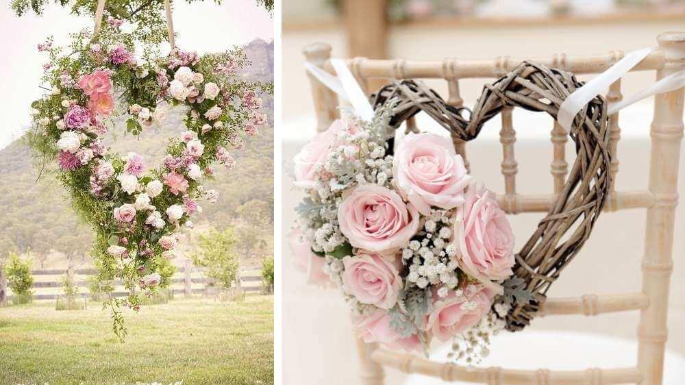Il est de mariage une décoration florale en forme de cœur installer pendant la cérémonie