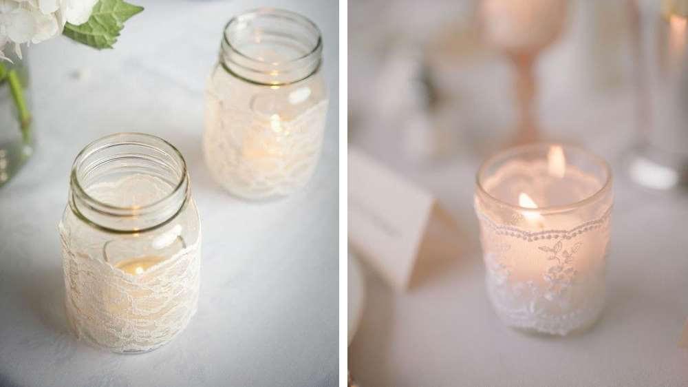 Idée de mariage des petits photophores réalisé par vous-même à placer partout sur la table des marier