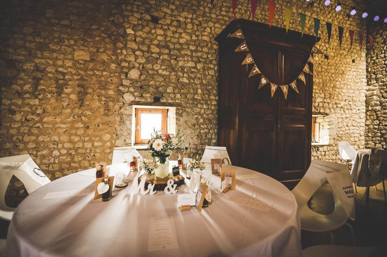 Présentation de table style champêtre mariage au grenier des saveurs en Charente-Maritime Charente