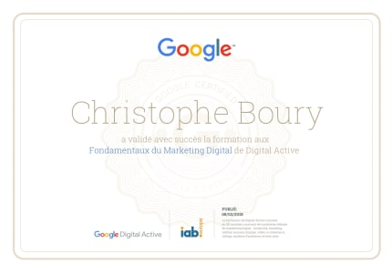 Certification Digital Active Google christophe Boury