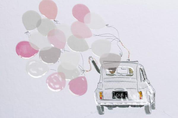 Faire-part de mariage détails de la fiâtes une fiâtes avec des ballons produits de luxe