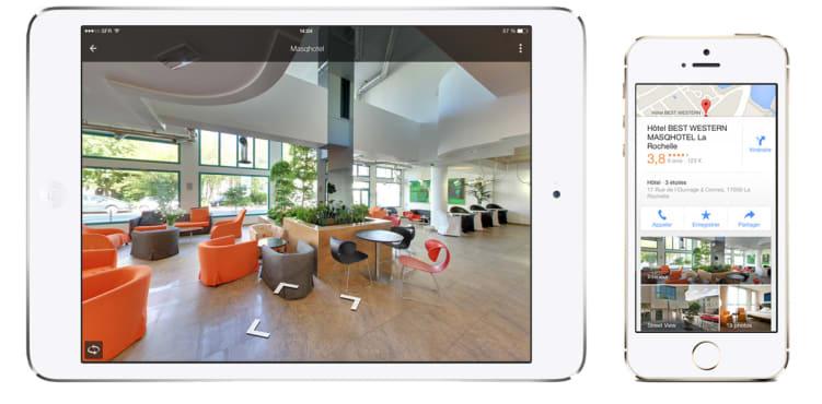 visite virtuelle Google pour un hotel sur tablette et téléphone
