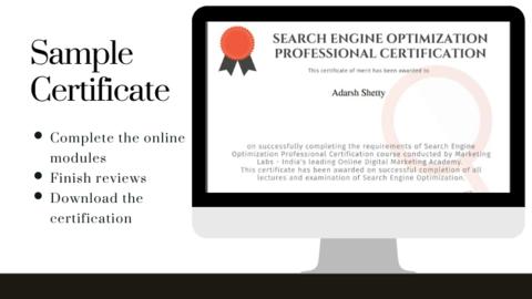Digital Marketing Online Courses Sample Certification