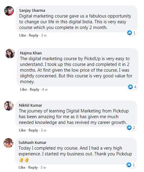 Facebook Reviews of Digital Marketing Online Courses