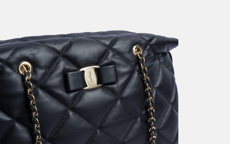 19bf2adba8 Ferragamo Ginette Vara Tote. Quilted napa leather ...