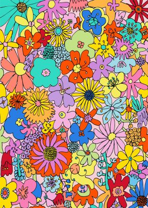 Visual Artwork: Flowers Make Me Happy by artist and creator Anette Moi