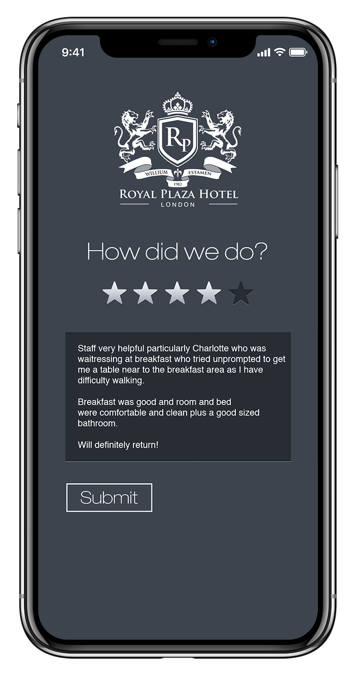 phone with hotel reputation management app