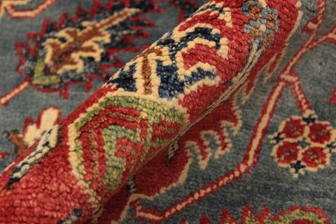 3x5 Blue/Ruby Kazak Rug zoom in and folded