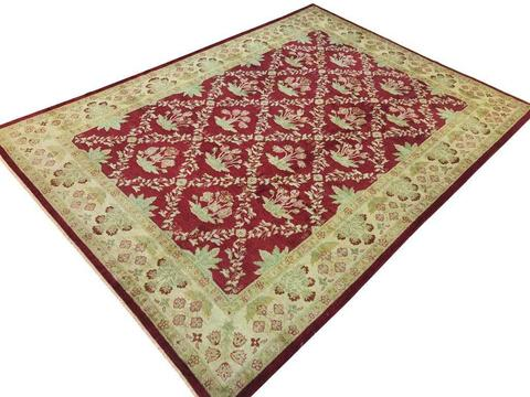 10x14 Royal Red Peshawar Ziegler Rug overhead view