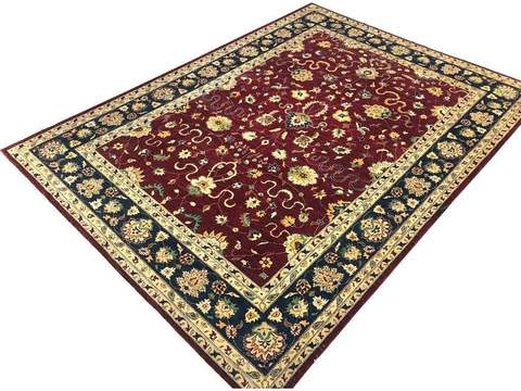 10x14 Large Red Peshawar Ziegler Rug overhead view