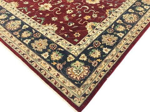 10x14 Large Red Peshawar Ziegler Rug corner design