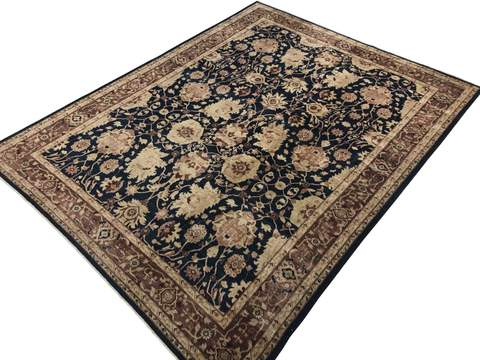 10x13 Blue/Brown Peshawar Ziegler Rug overhead view