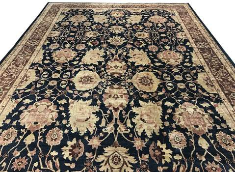 10x13 Blue/Brown Peshawar Ziegler Rug laying flat
