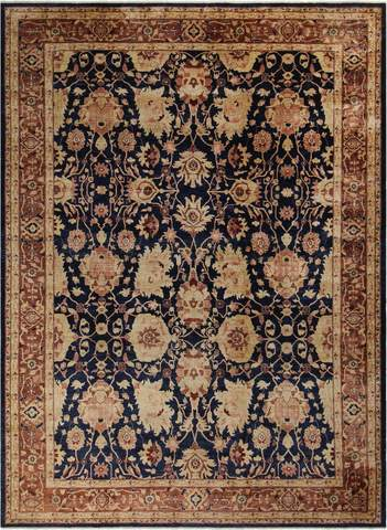 10x13 Blue/Brown Peshawar Ziegler Rug full size