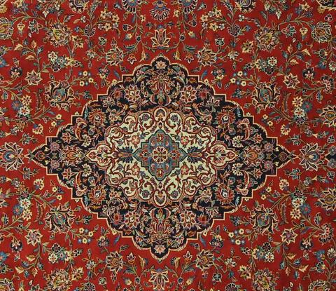 10x14 Scarlet/Caramel Persian Rug close-up of patterns