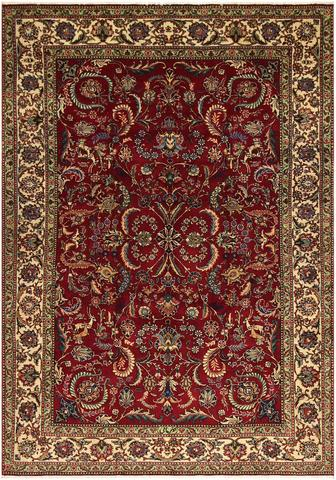 8x11 Wine Red/Ivory Persian Rug overhead