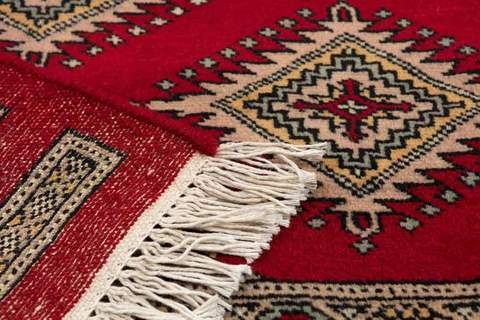 8' x 10' Sand/Red Bokhara Rug