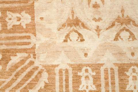 9.83 x 14' White and Gold Ikat Rug 2