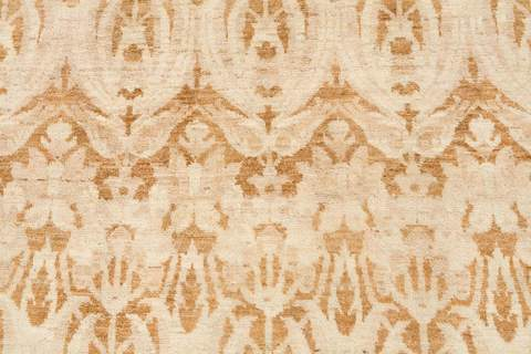 9.83 x 14' White and Gold Ikat Rug 3