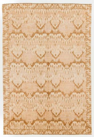 6 x 8.83' Gold and Tan Ikat Rug