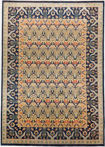 9.82 x 13.92' Multi Colored Ikat Rug