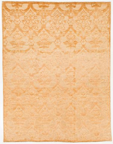 8.17 x 10.5' Gold and White Soumak Rug 1