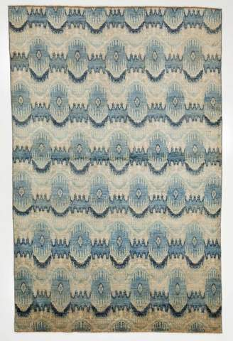 5.92 x 9.08' Multi Colored Ikat Rug