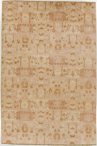 6 x 9.08' Gold and Tan Ikat Rug