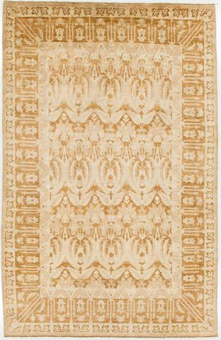 6 x 9.33' Gold and Tan Ikat Rug