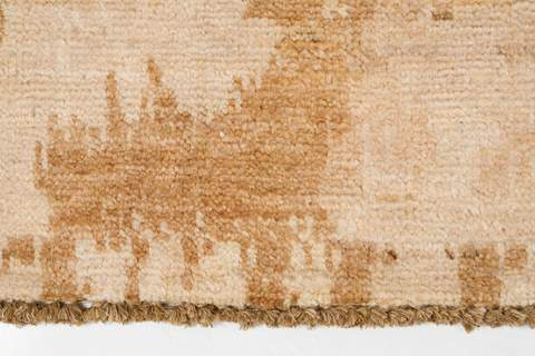 9.92 x 13.75' Gold and Tan Ikat Rug 2