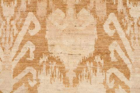 9.92 x 13.75' Gold and Tan Ikat Rug 4