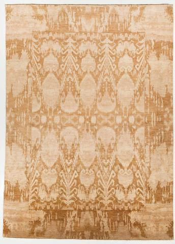 9.92 x 13.75' Gold and Tan Ikat Rug