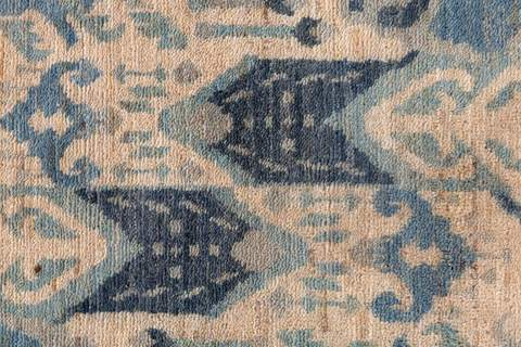 7.75 x 10' Blue and Tan Ikat Rug 5