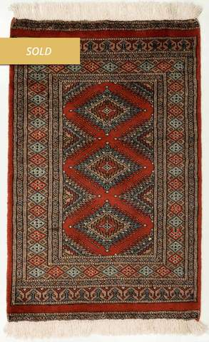 2 x 3.08 Rust Red Bokhara Oriental Rug Sold