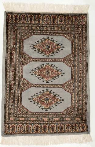 2 x 2.92' Light Gray Bokhara Oriental Rug