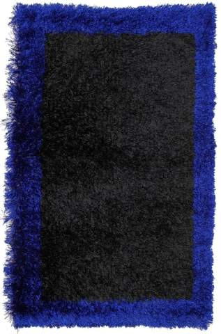 2.58 x 4.08' Blue Contemporary Shag Rug