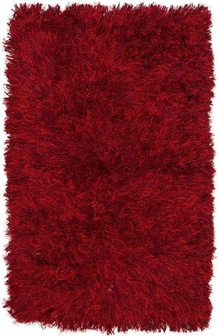 Red Contemporary Shag Rug 11