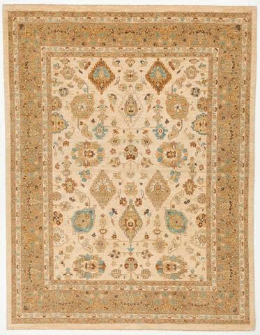 7.9 x 10' Beige and Tan Peshawar Ziegler Rug