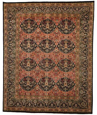 8x10 Cherry Red/Black Persian Rug Overhead
